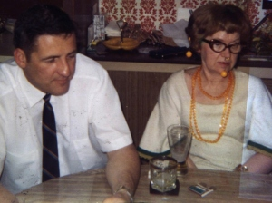 Dad and his cousin Mary at a meeting of the Cousin's Club